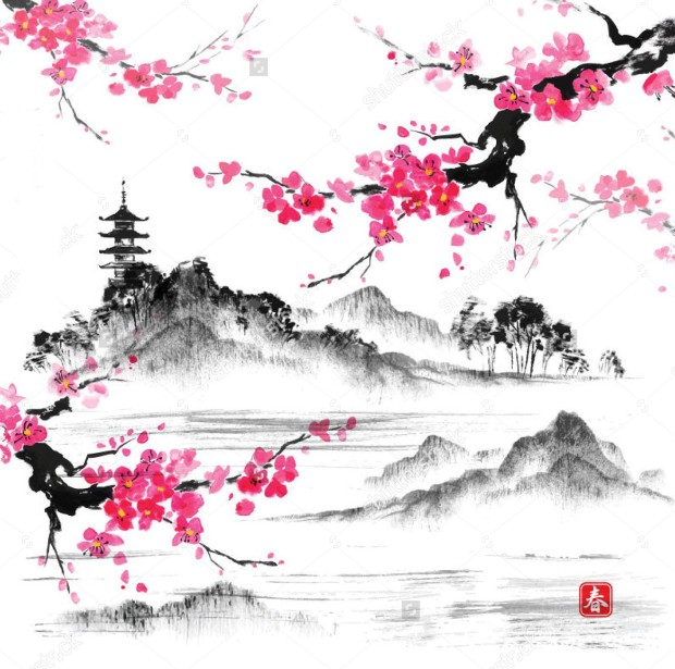 stock-vector-landscape-with-sakura-branches-lake-and-hills-in-traditional-japanese-sumi-e-style-vector-293027414.jpg